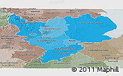 Political Shades Panoramic Map of East Midlands, semi-desaturated