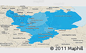 Political Shades Panoramic Map of East Midlands, shaded relief outside