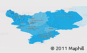 Political Shades Panoramic Map of East Midlands, single color outside