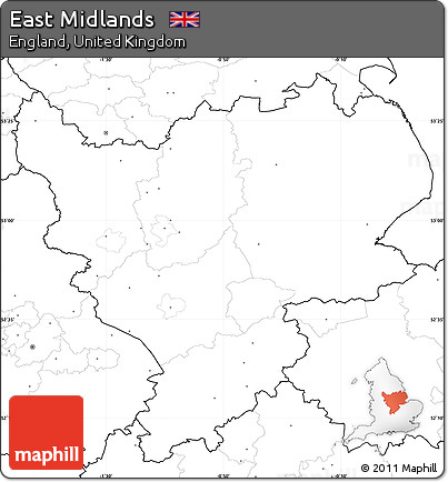 Map Of Uk No Labels.Free Blank Simple Map Of East Midlands No Labels