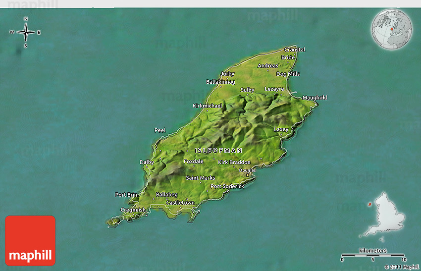 Satellite 3D Map of Isle of Man