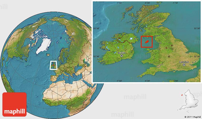 Satellite Location Map of Isle of Man