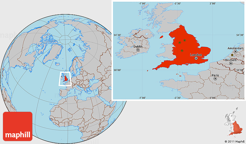 England On Map Of World.Gray Location Map Of England