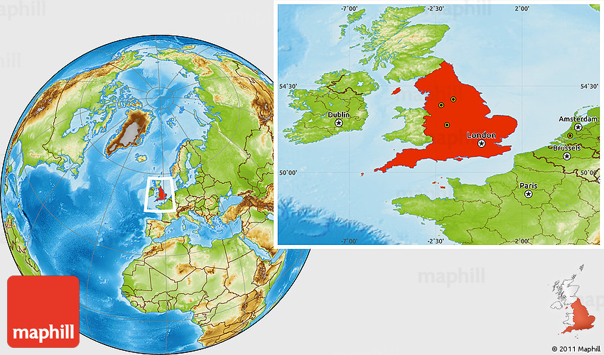 England On Map Of World.Physical Location Map Of England