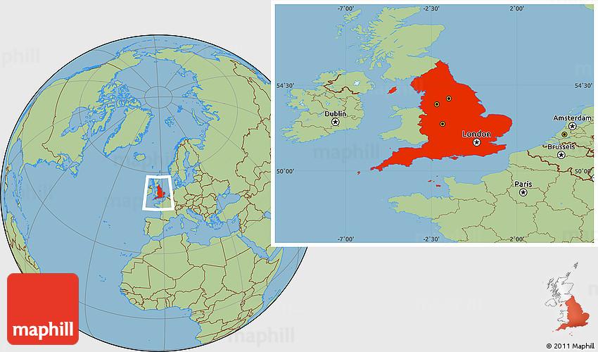 Savanna Style Location Map Of England