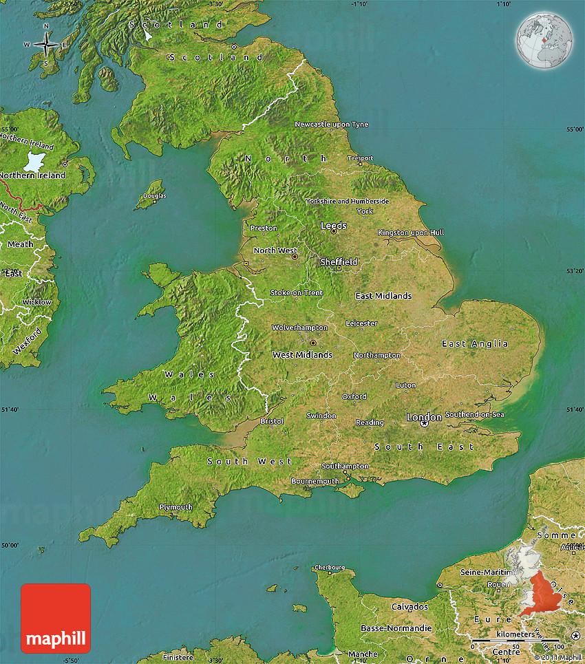 satellite map of england