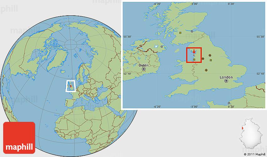 Savanna Style Location Map of Blackpool