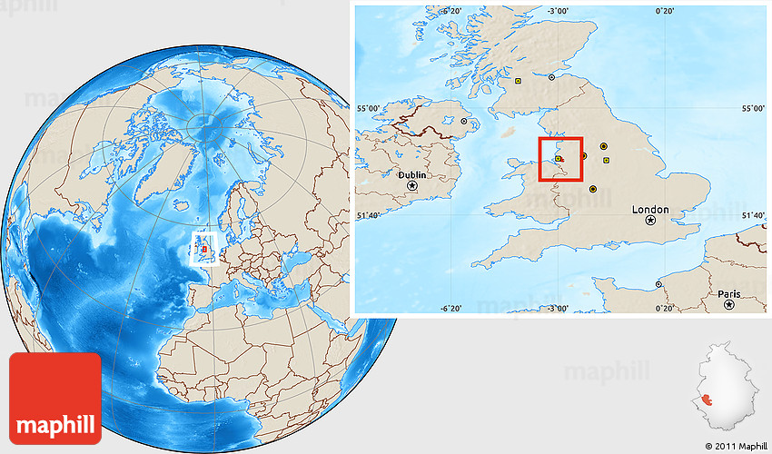 Shaded Relief Location Map of Liverpool on
