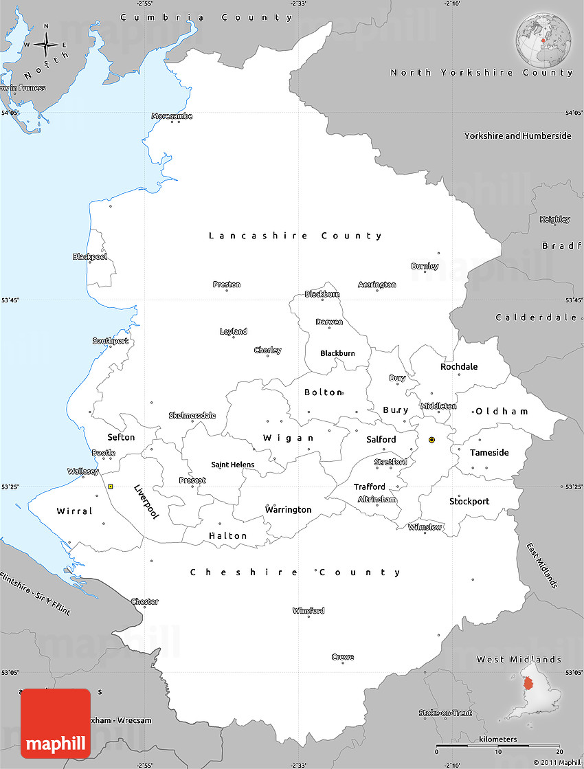 Map Of England North.Gray Simple Map Of North West