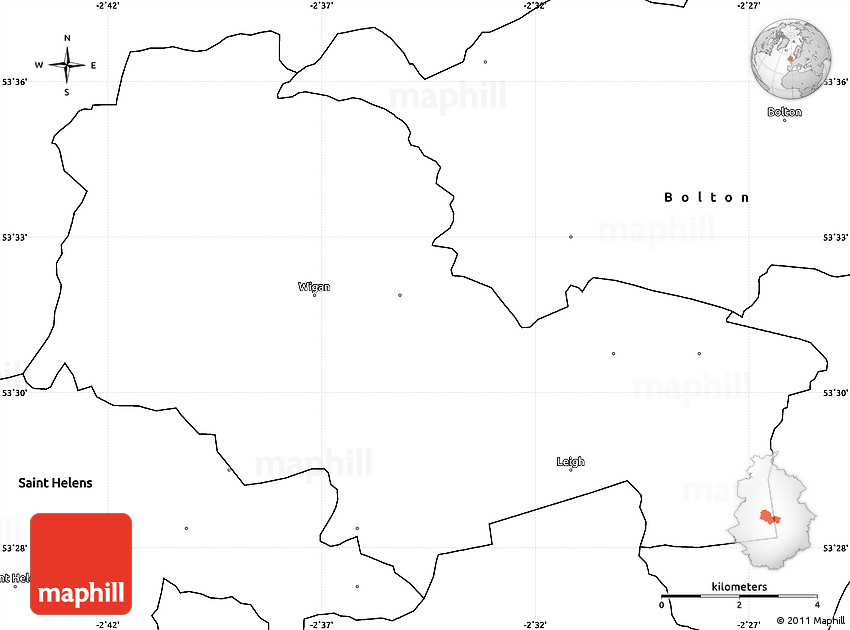 Blank Simple Map of Wigan