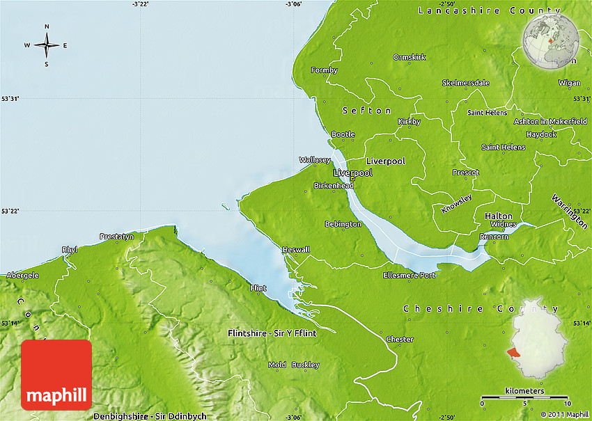 Physical Map of Wirral