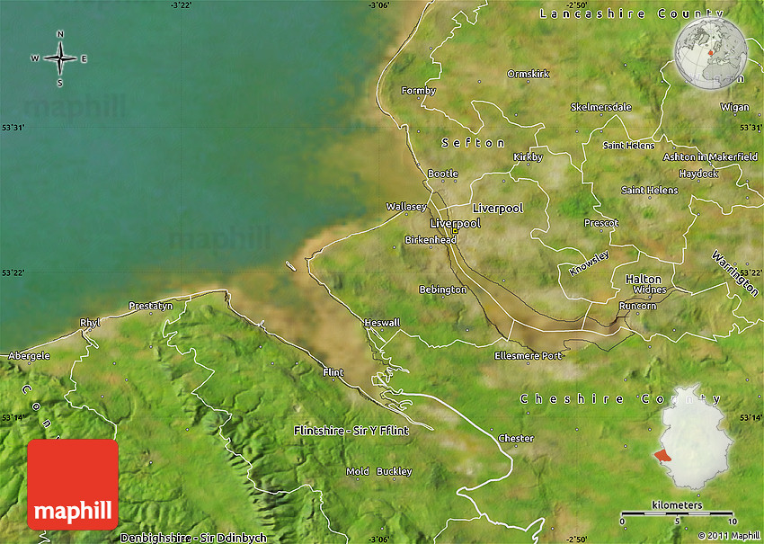 Wirral United Kingdom  City pictures : Satellite Map of Wirral