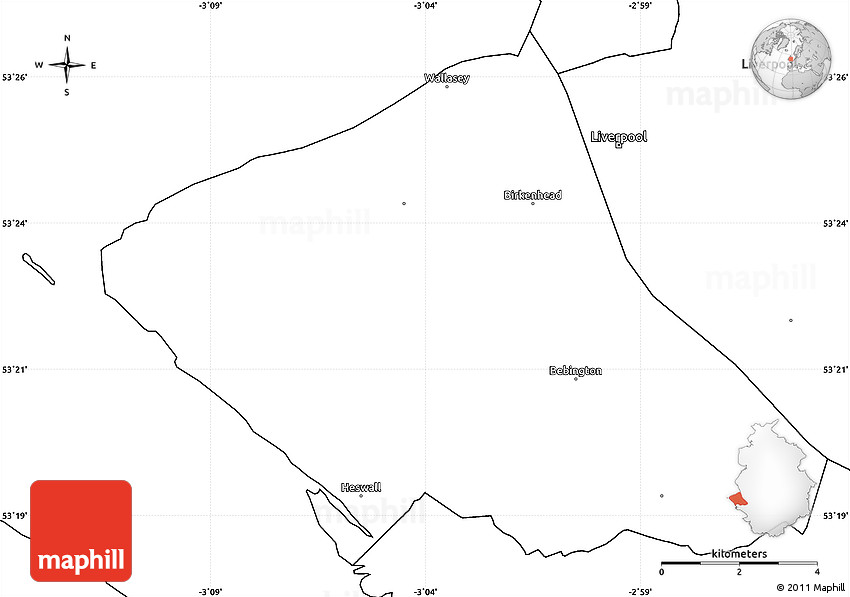 Wirral United Kingdom  City pictures : Blank Simple Map of Wirral