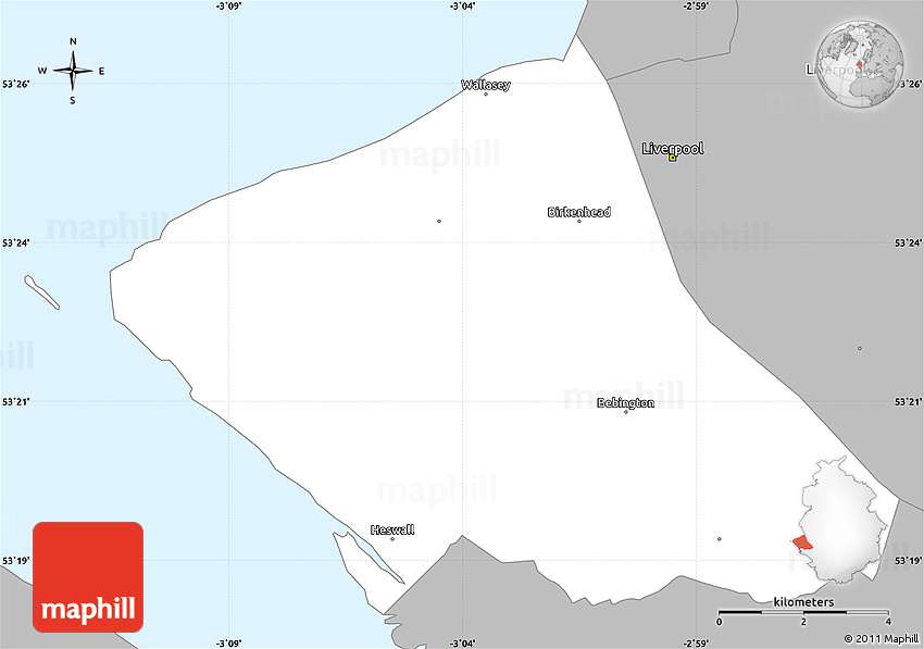 Gray Simple Map of Wirral
