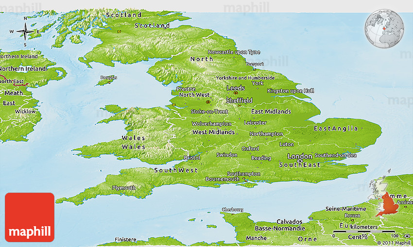 Map Of England Leicester.Physical Panoramic Map Of England