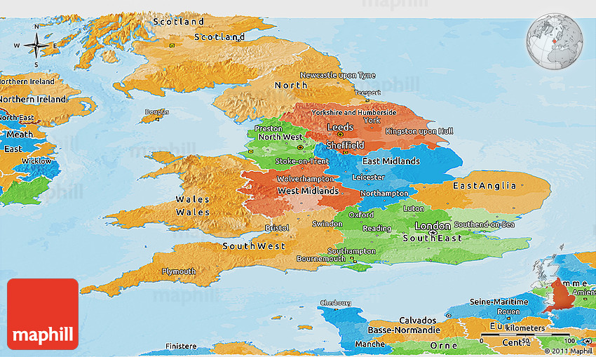 Political Panoramic Map Of England