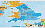Political Shades Panoramic Map of England