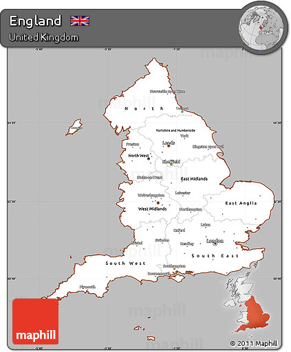 Gray Simple Map Of England Cropped Outside