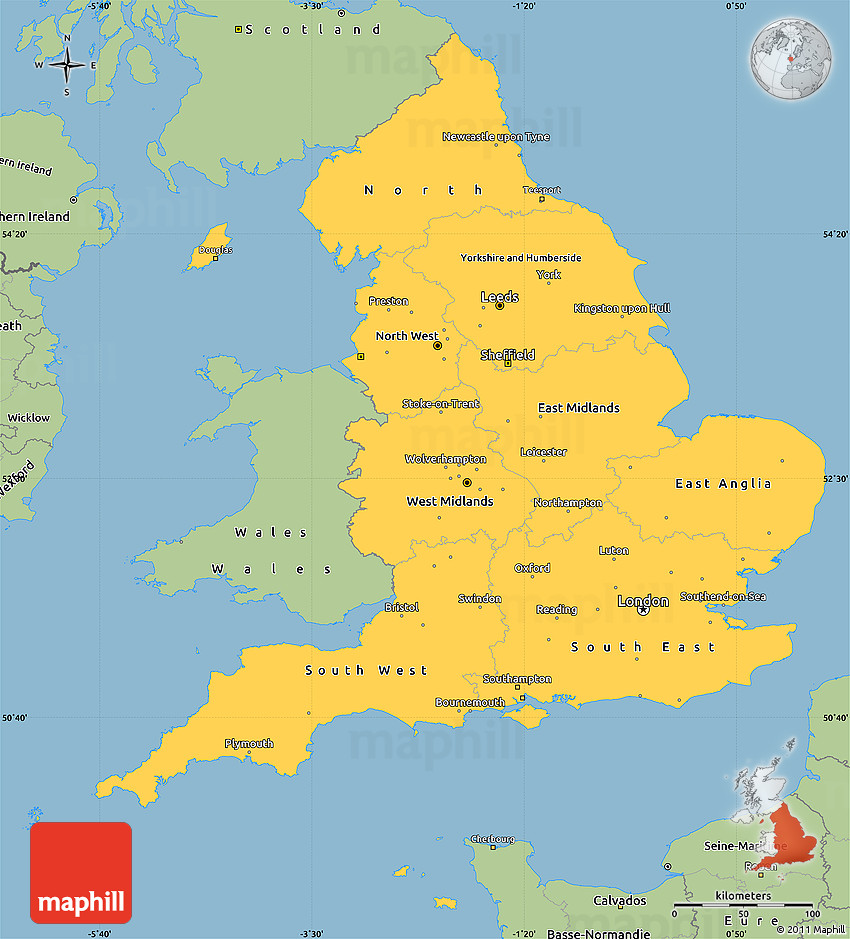 Simple Map Of England Cvln Rp