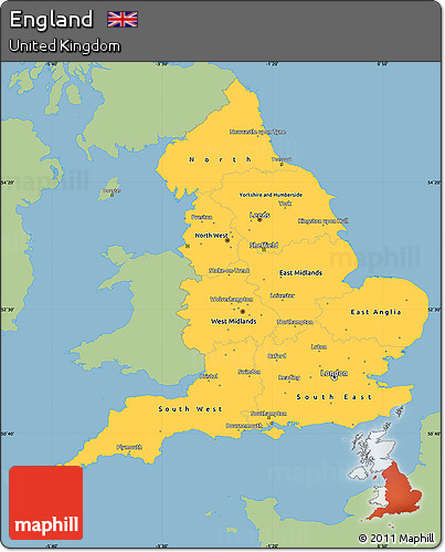 Free Savanna Style Simple Map Of England Single Color Outside - Map color code