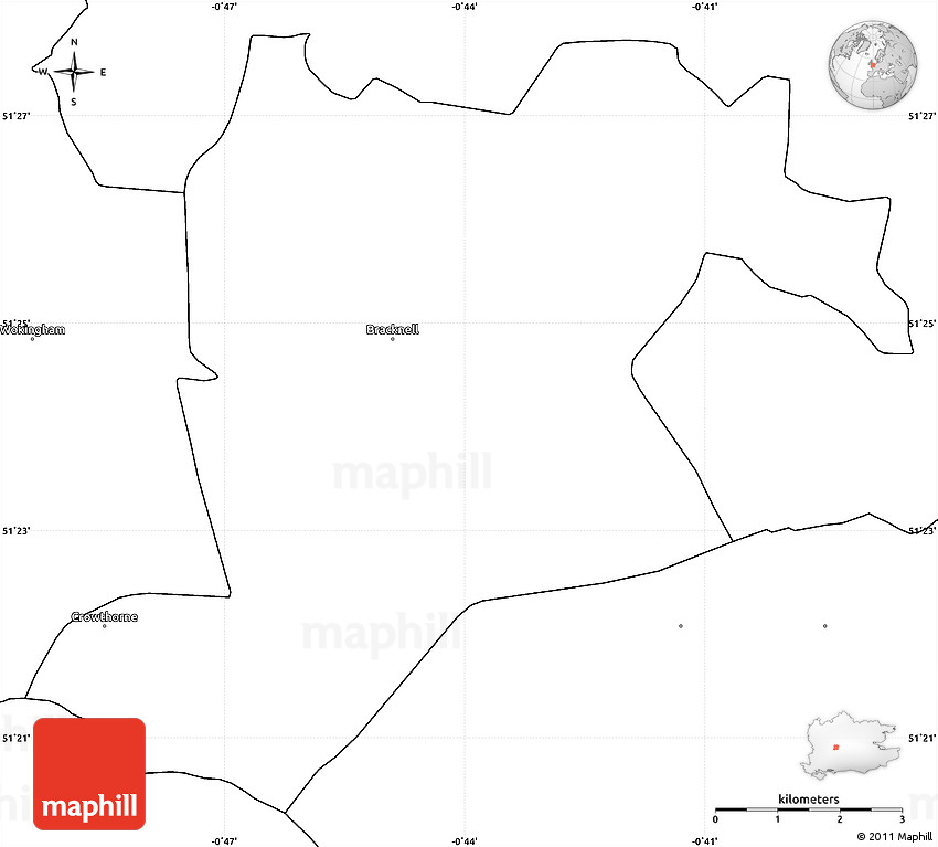Blank Simple Map of Bracknell Forest