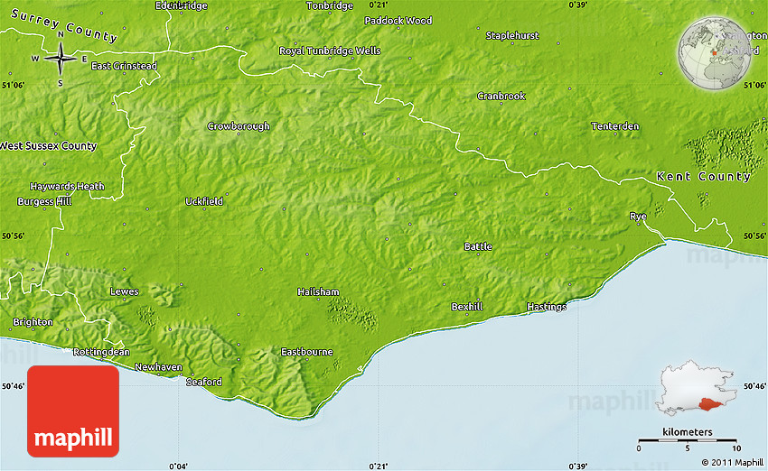 Physical Map of East Sussex County