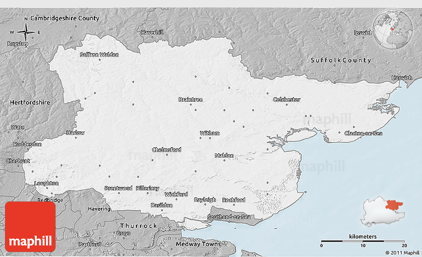 Essex United Kingdom  city photos gallery : Gray 3D Map of Essex County