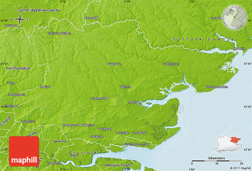 Essex United Kingdom  city pictures gallery : Physical Map of Essex County