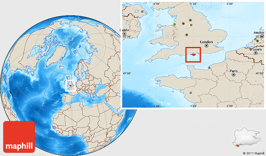 Isle of Wight United Kingdom  city pictures gallery : Shaded Relief Location Map of Isle of Wight