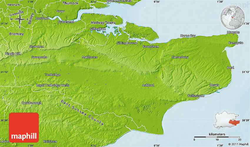Physical Map Of Kent County - Topographic map of united kingdom