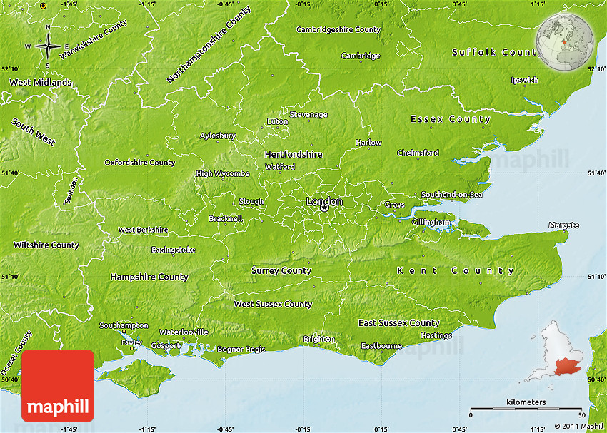 Map Of The South England.Physical Map Of South East