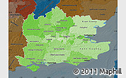 Political Shades Map of South East, darken
