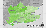 Political Shades Map of South East, desaturated