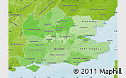 Political Shades Map of South East, physical outside