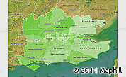 Political Shades Map of South East, satellite outside