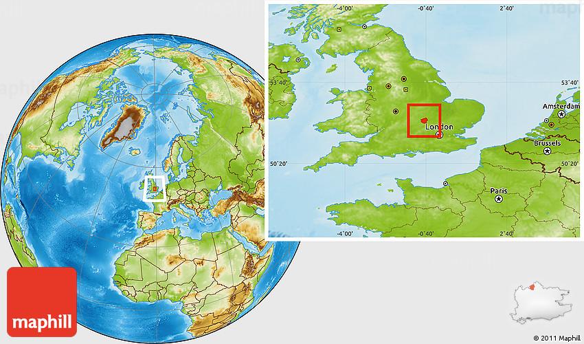Map Of England Milton.Physical Location Map Of Milton Keynes