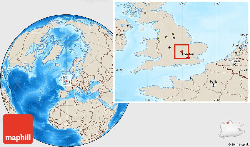 Map Of England Milton Keynes.Shaded Relief Location Map Of Milton Keynes