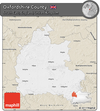 Free Classic Style Map Of Oxfordshire County