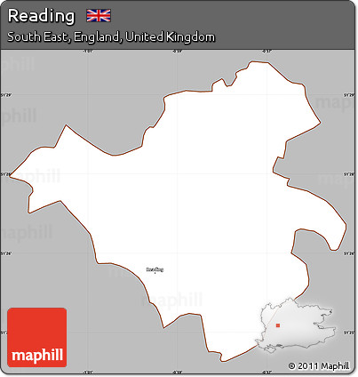 Free Gray Simple Map of Reading cropped outside