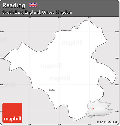 Free Silver Style Simple Map of Reading cropped outside