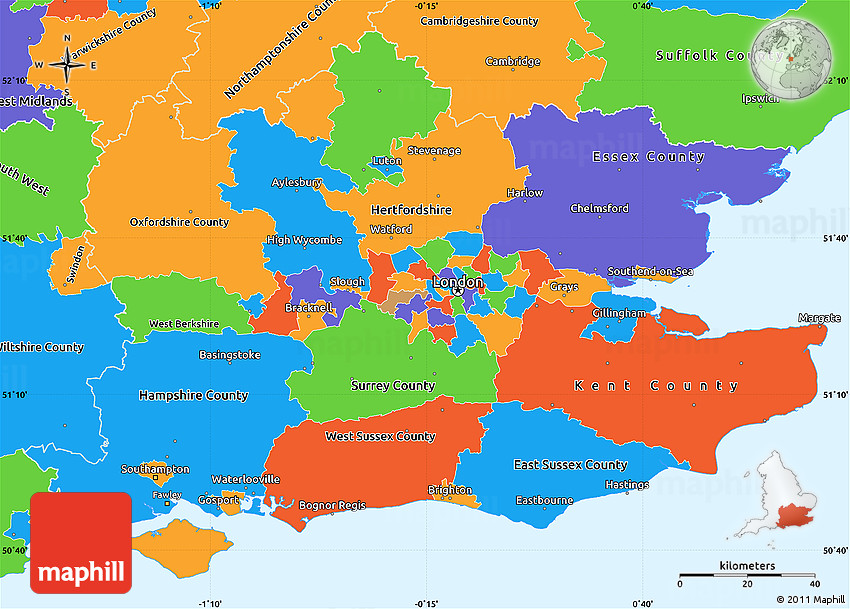 Map East Of England.Political Simple Map Of South East