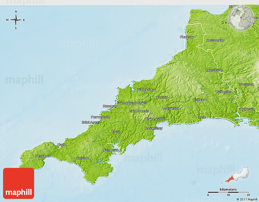 3d Terrain Map Of Uk.Physical 3d Map Of Cornwall County