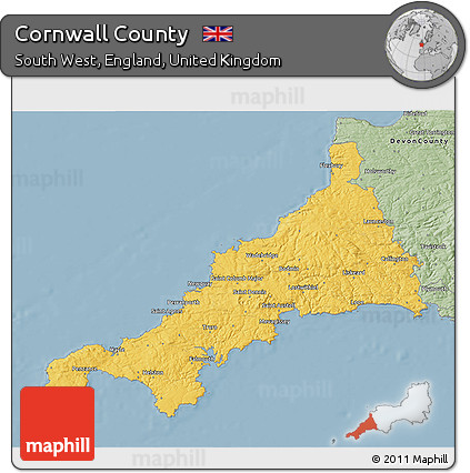 Savanna Style 3D Map of Cornwall County