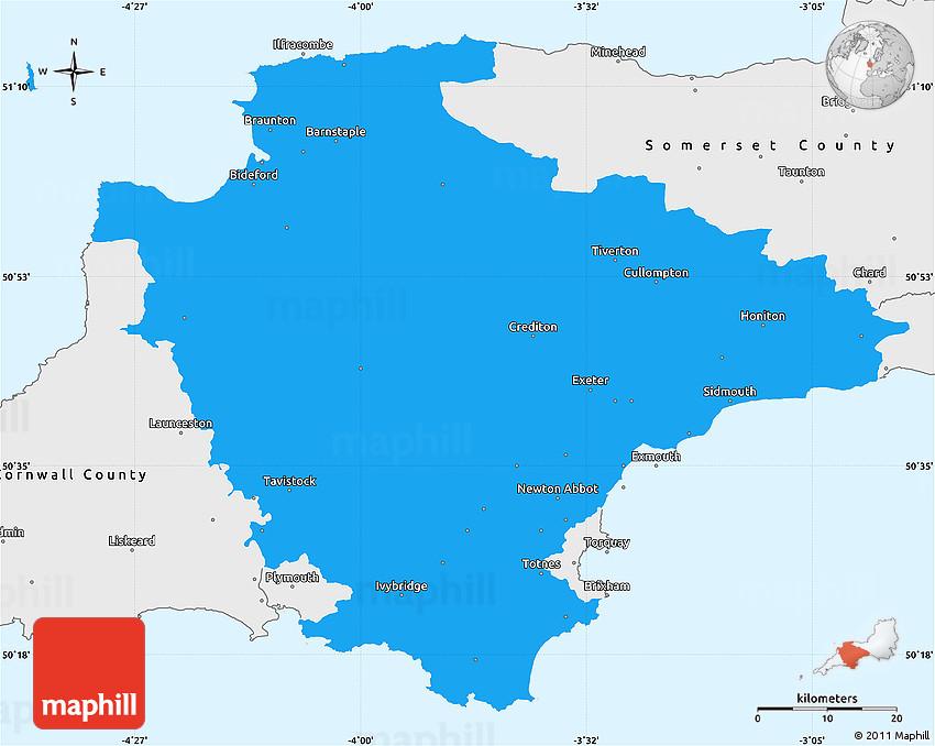 Political Simple Map of Devon County single color outside borders