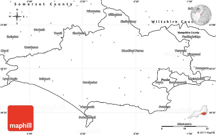 Blank Simple Map of Dorset County
