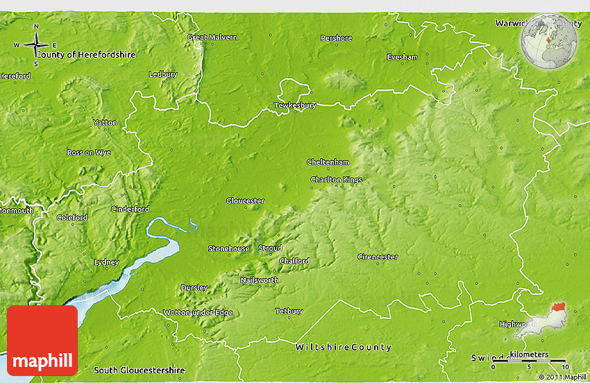 Physical 3D Map of Gloucestershire County