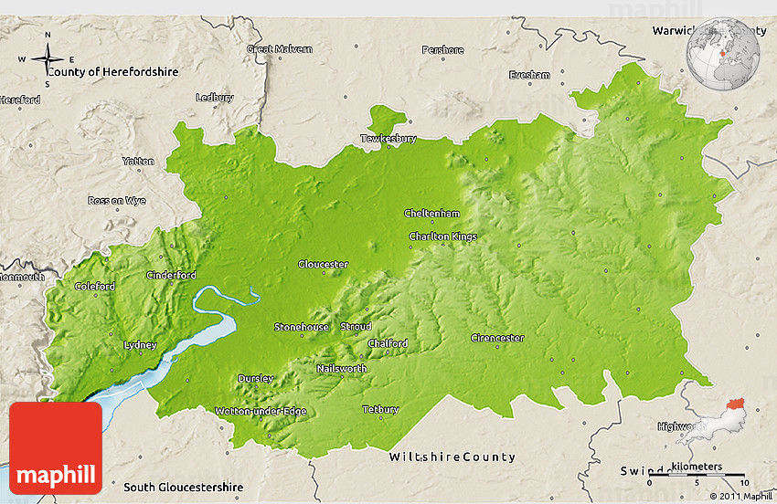 Map Of England Gloucestershire.Physical 3d Map Of Gloucestershire County Shaded Relief Outside