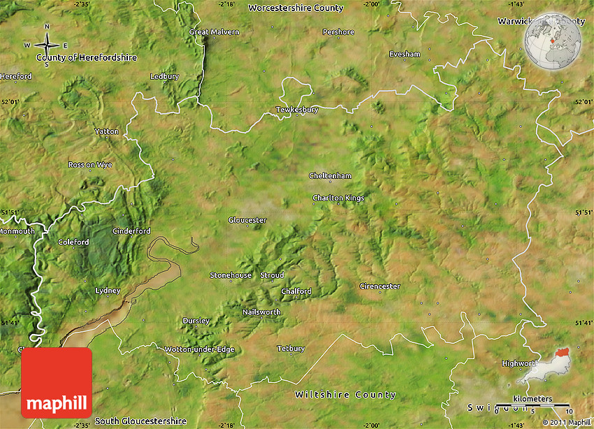 Satellite Map of Gloucestershire County