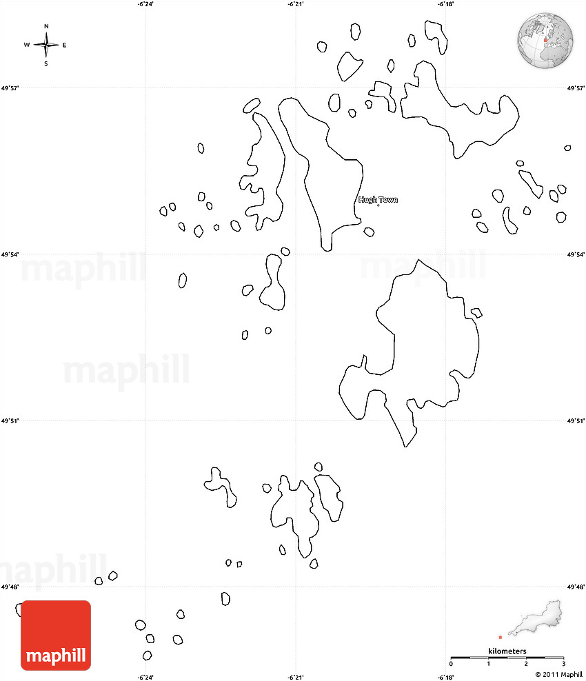 blank simple map of isles of scilly