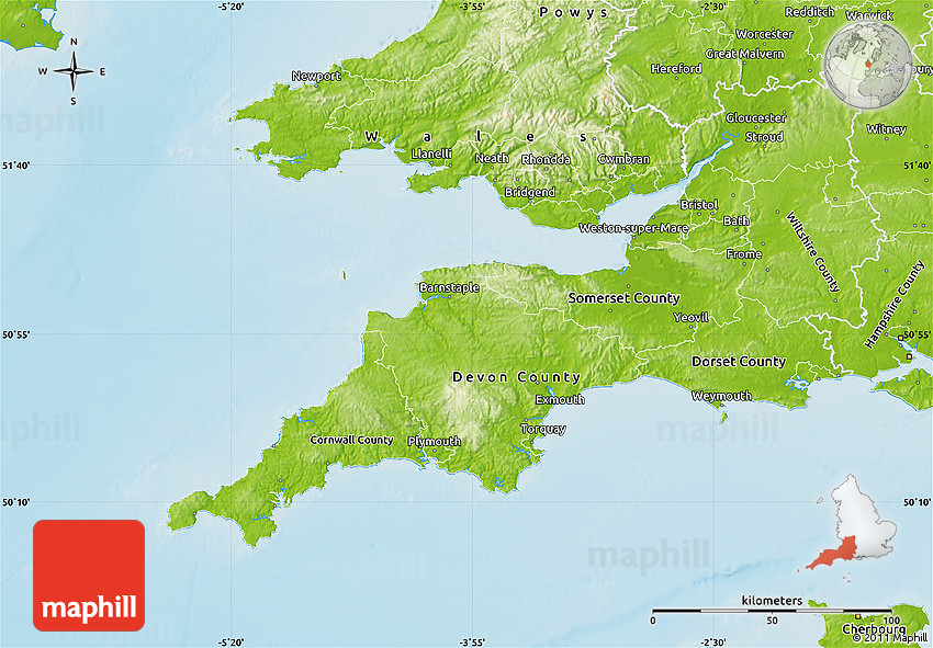 Map Of The South West Of England.Physical Map Of South West